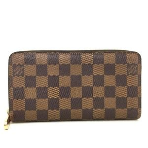 💯 Auth Louis Vuitton Damier EbeneZippy Zip Wallet